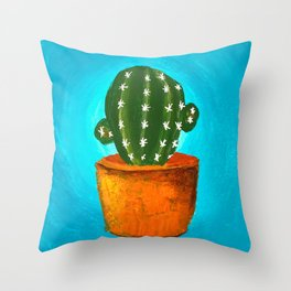 Cactus Cactii Prickly Spiney in Pot Blue Teal Circle Background Cute Throw Pillow