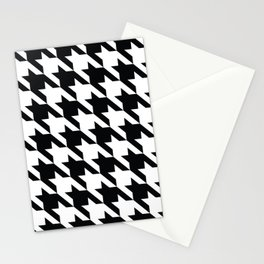 Classic Houndstooth Black and White Large Retro Dog Tooth Pattern Fashion Stationery Cards