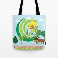 farm Tote Bags featuring Farm by Design4u Studio