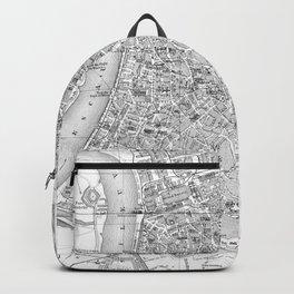 Vintage Map of Antwerp Belgium (1905) BW Backpack
