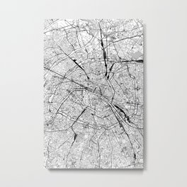 Paris White Map Metal Print