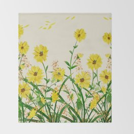 Yellow Wildflowers Throw Blanket