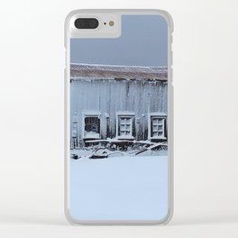 Snow Caked Barn Clear iPhone Case