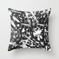 music notes Throw Pillows featuring MUSIC NOTES  by raspaintings