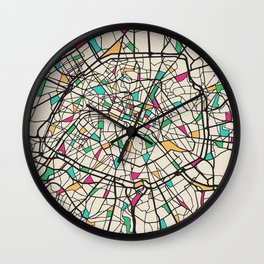 Colorful City Maps: Paris, France Wall Clock