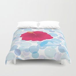 Hibiscus and Thunderhead reflected on the bubble_R Duvet Cover
