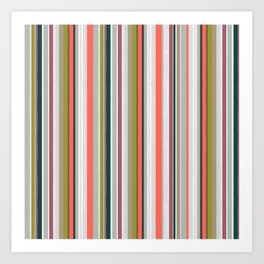 Stripes together with living coral Art Print