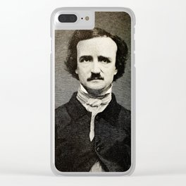 Edgar Allan Poe Engraving Clear iPhone Case