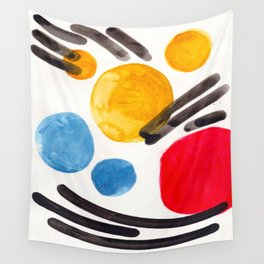 Mid Century Modern Abstract Juvenile childrens Fun Art Primary Colors Watercolor Minimalist Pop Art Wall Tapestry