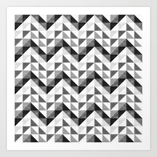 Chevron Facet Black & White Art Print