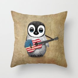 Baby Penguin Playing American Flag Acoustic Guitar Throw Pillow