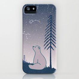 Bear and Constellations navy blue iPhone Case