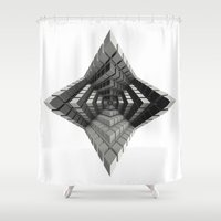 edm Shower Curtains featuring Time vs. Monolith by Obvious Warrior