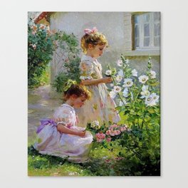 Beautiful Painting Of Two Girls Picking Flowers Canvas Print
