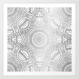 Silver Ethnic Pattern With Mandalas Art Print