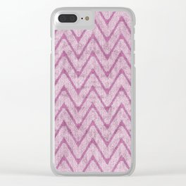 Soft Dusty Mauve Imitation Suede Zigzag Clear iPhone Case
