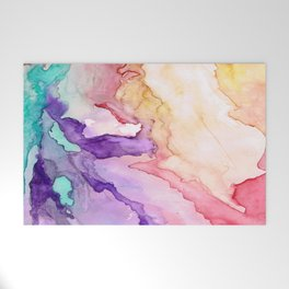 Color My World Watercolor Abstract Painting Welcome Mat