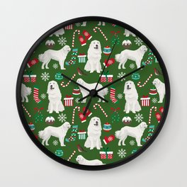 Great Pyrenees christmas festive dog gifts for the dog lover pet friendly pet portraits Wall Clock