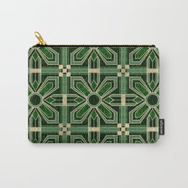Art Deco Floral Tiles in Emerald Green and Faux Gold Carry-All Pouch