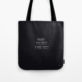 Organic Vegetables and Smart Books Black Tote Bag