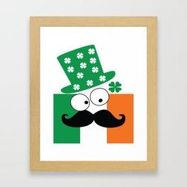 Irish mustache man st.Patty's day Framed Art Print