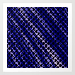 Blue Swirly Pattern with Creases Art Print