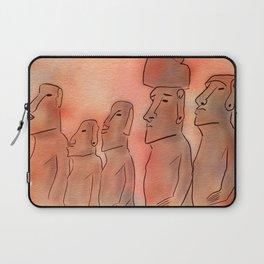 Moai statues watercolor Laptop Sleeve