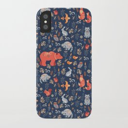 Fairy-tale forest. Fox, bear, raccoon, owls, rabbits, flowers and herbs on a blue background. Seamle iPhone Case
