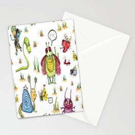 whimsical bug watercolor Stationery Cards