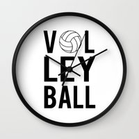 volleyball Wall Clocks featuring Volleyball (black) by raineon