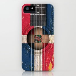 Old Vintage Acoustic Guitar with Dominican Flag iPhone Case
