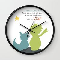 le petit prince Wall Clocks featuring LE PETIT PRINCE -the little prince- by Chara Anagnostopoulou