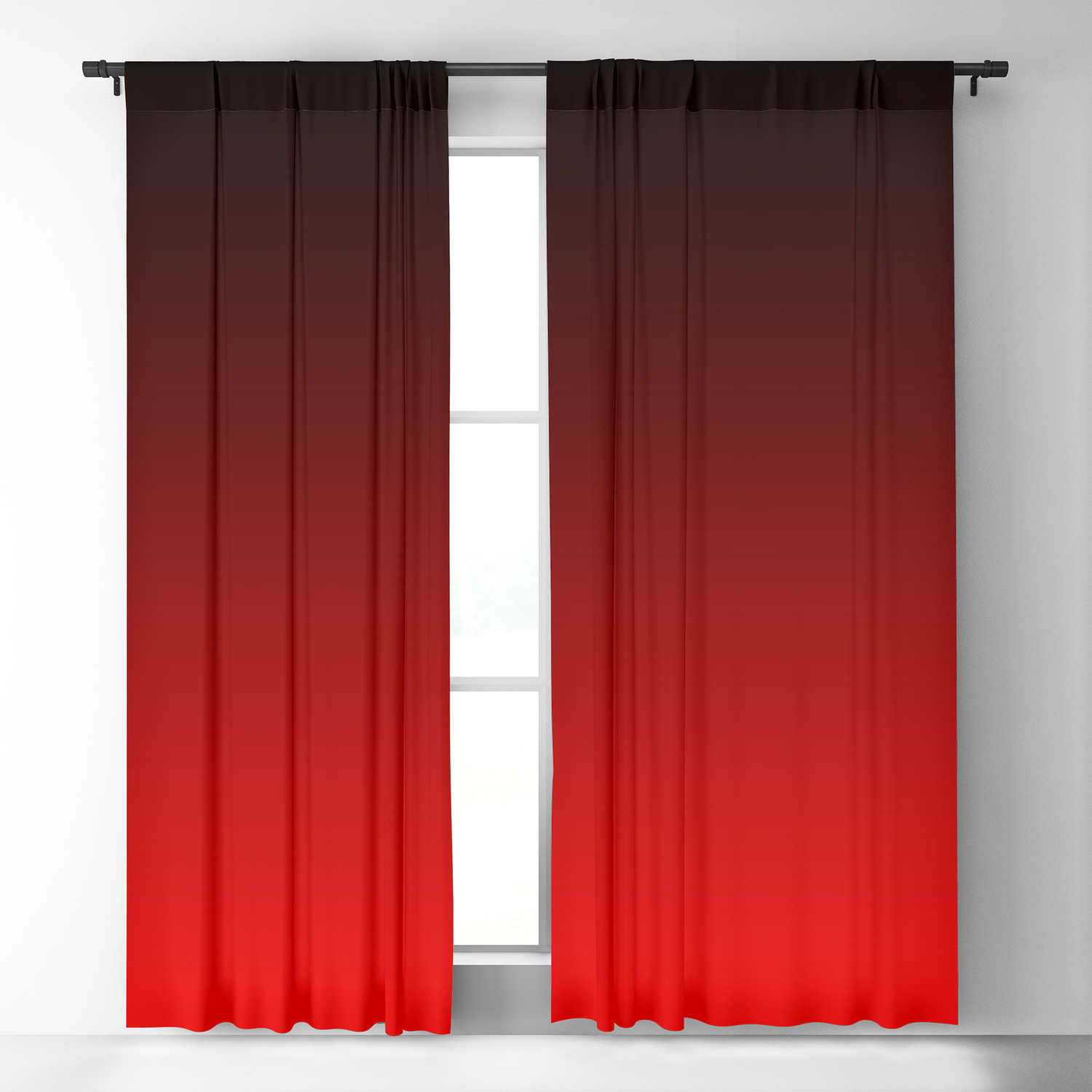 Red Neon Nights Ombre Blackout Curtain