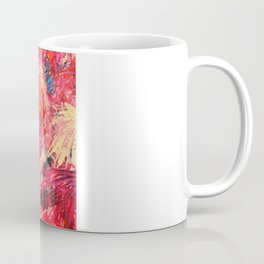 MEND ME - Broken Heart Abstract Artwork Bright Bold Crimson Red Magenta Black Leopard Print Coffee Mug