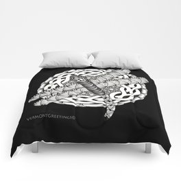 Zentangle Dragonfly Black and White Illustration Comforters