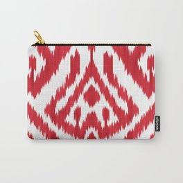Coral red ikat Carry-All Pouch