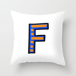 Uppercase Letter F Doodle Throw Pillow