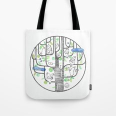 happy tree (black and green) Tote Bag
