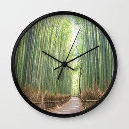 Empty Path Arashiyama Bamboo Forest Wall Clock
