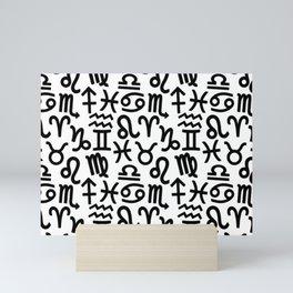 Zodiac signs background. Horoscope symbols. Astrology background Mini Art Print