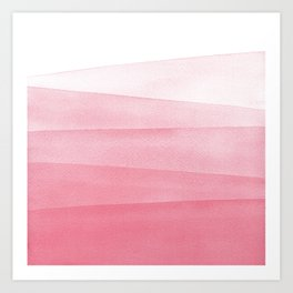 Pink Ombré Dip Dyed Watercolor Art Print