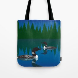 Loons in a Woodland Lake Tote Bag