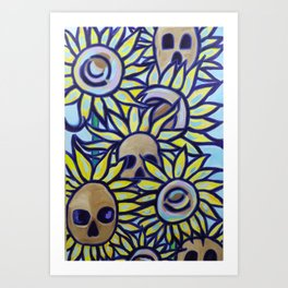 S is for Sunflowers and Skulls Art Print