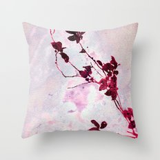 Botanical Traces in Pink Throw Pillow