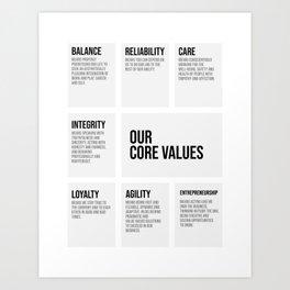 Our Core Value, Office Decor Ideas, Wall Art Art Print