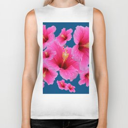 TEAL MODERN ART GIRLY PINK HIBISCUS Biker Tank