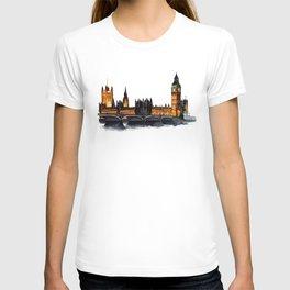 London, Big Ben, parliament, Watercolour T-shirt