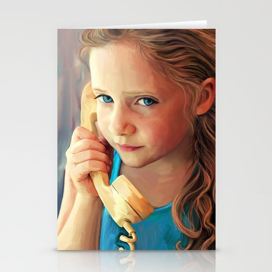 The Confidante - painting of a young girl on the phone Stationery Cards