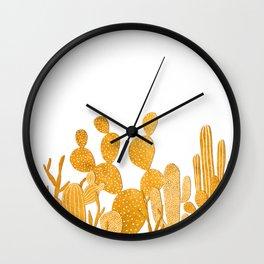 Golden cactus garden on white Wall Clock