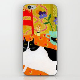 Tuxedo Cat on the Table with Black Bird planter iPhone Skin